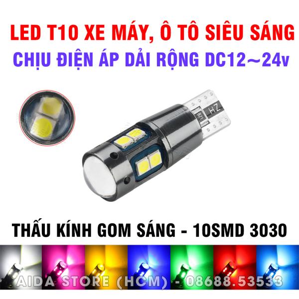 [HCM]Bóng đèn LED T10 10smd CREE 3030 điện áp rộng 12-24v demi xi nhan xe máy ô tô