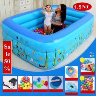 Bể bơi phao cho bé 1m5 3 tầng, bể tắm bơm hơi trẻ em và gia đình vui chơi, họa tiết siêu đẹp, Phao Bơm Hơi Có Đế Chống Trượt An Toàn Cho Bé. thumbnail