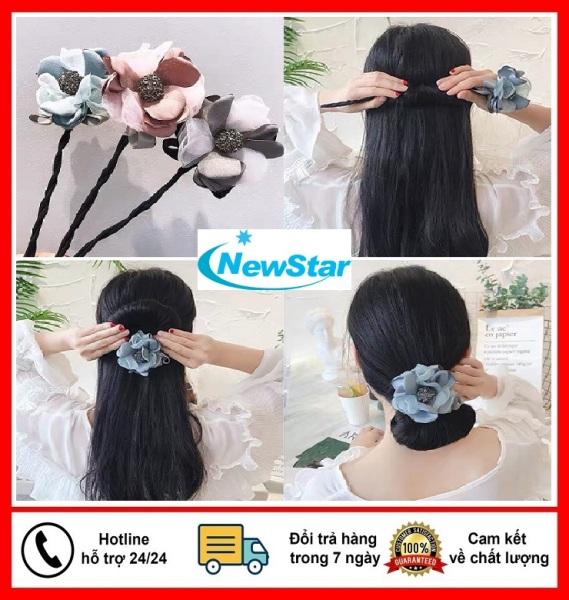 (Combo 2 chiếc - Có video hướng dẫn buộc tóc) Thanh búi tóc kèm nơ hoa độc đáo, Dụng cụ buộc tóc Magic Hair - Dây buộc tóc - phụ kiện chăm sóc tóc cho phụ nữ nhập khẩu