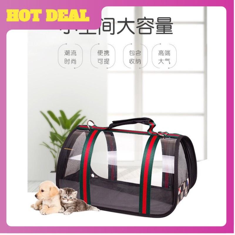 Túi vận chuyển thú cưng-khung lưới cao cấp- họa tiết hàng hiệu.