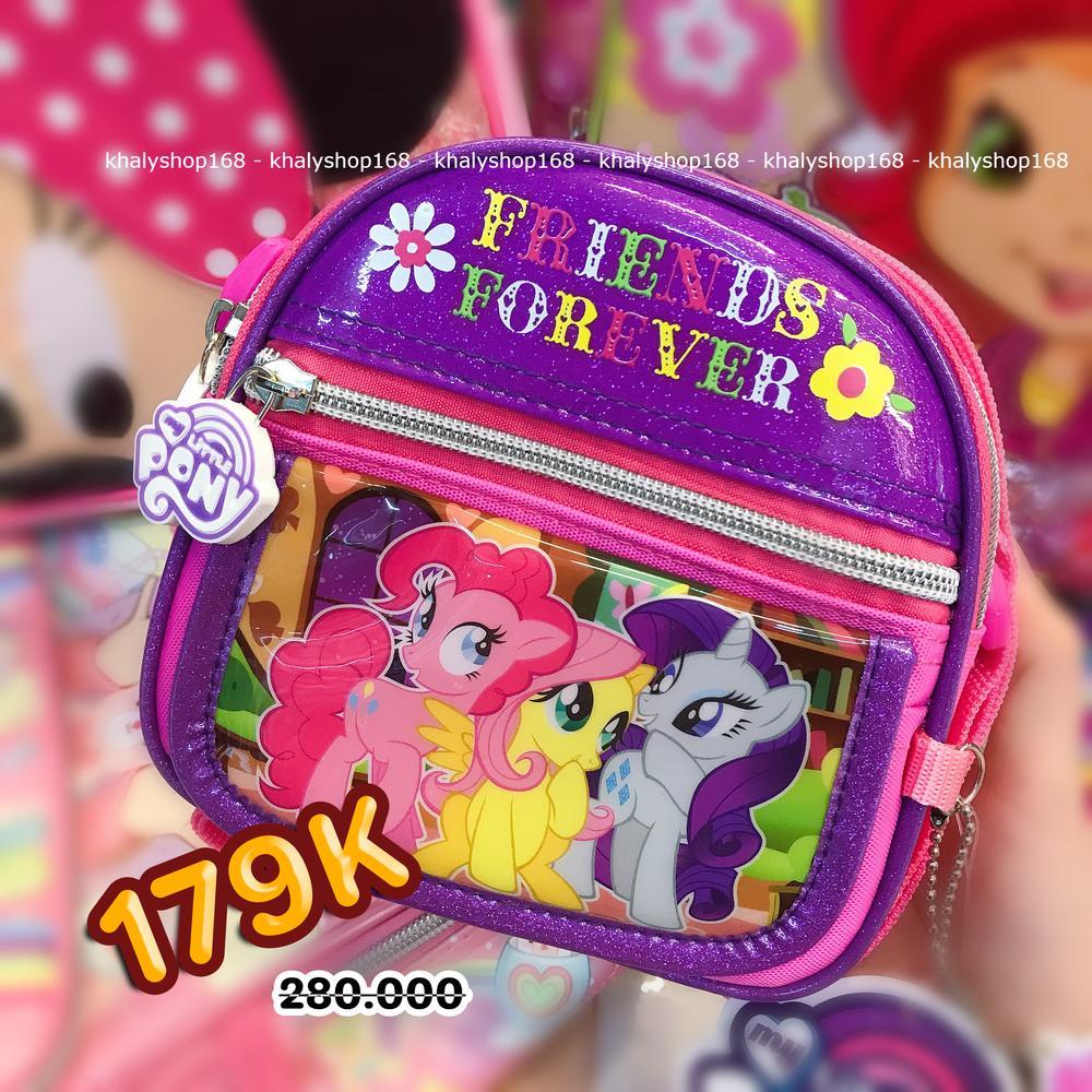Giá bán Túi đeo chéo hình Pony 3 ngăn bầu màu hồng tím cho bé gái (Thái Lan) - 280PN72164200 - (14x5x14cm)