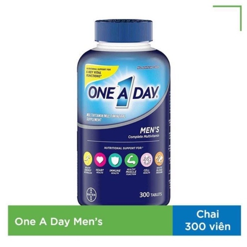 One A Day For Mens Multivitamin Health Formula cho nam của Mỹ , Date 2022, chai 300 viên