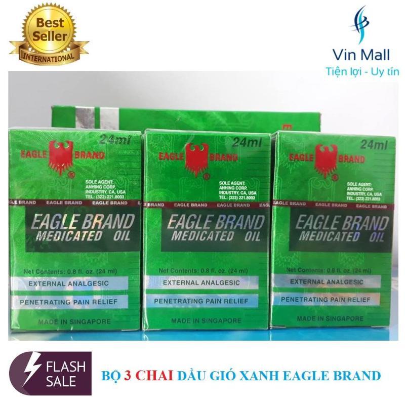 Bộ 3 Chai Dầu Gió Xanh 2 Nắp SingaPore Eagle Brand (Mẫu mới) nhập khẩu
