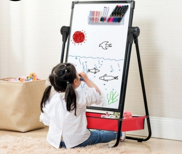 Mua Đồ dùng học tập cho trẻ em - Bảng viết - vẽ 2 mặt cao cấp, mặt bảng có từ tính, hít nam châm mạnh, chân đế vững chắc, xoay được 360 độ, có thể điều chỉnh độ cao bảng theo chiều cao phù hợp với bé, giúp bé có thể ngồi, đ�