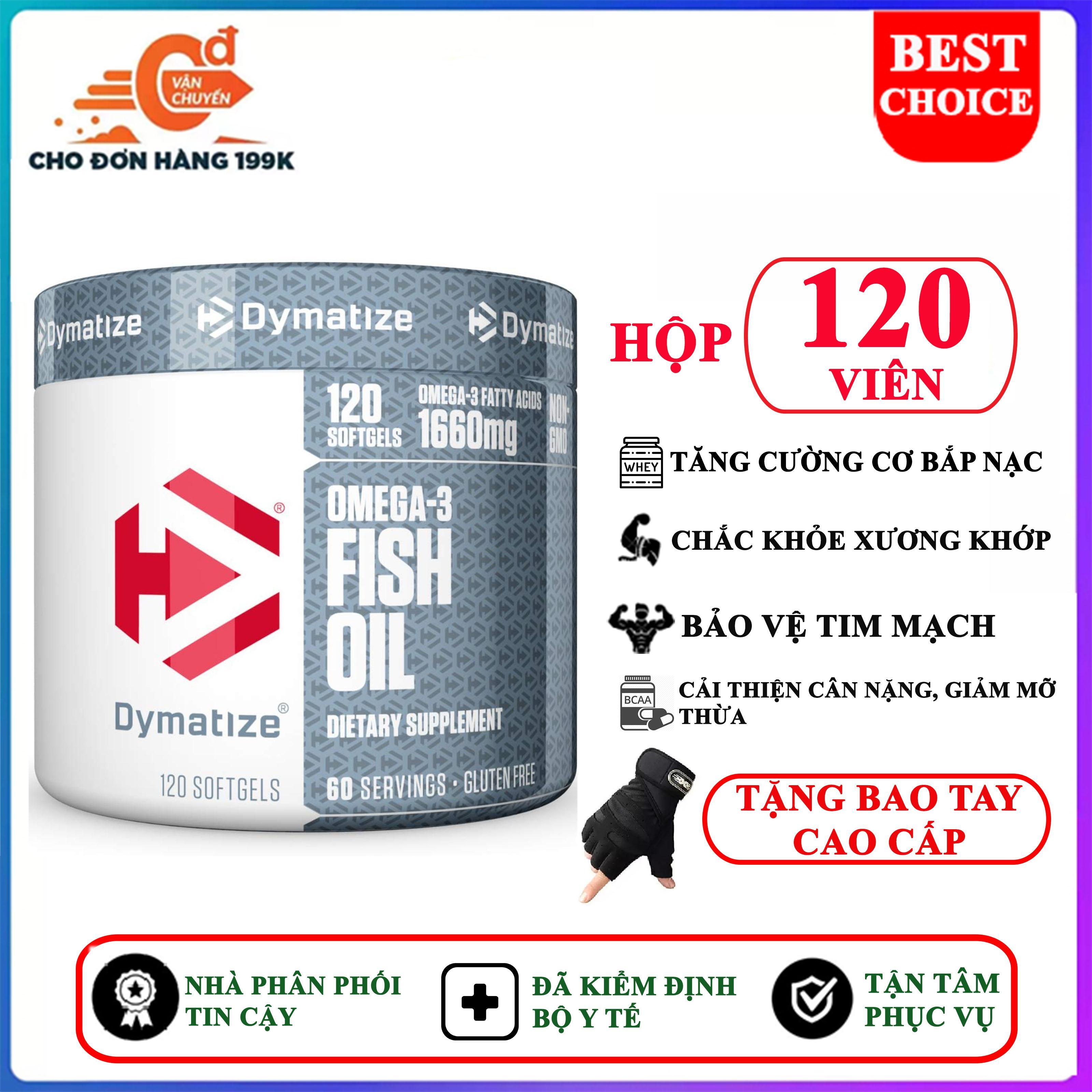 [TẶNG BAO TAY] Dầu Cá OMEGA 3 FISH OIL của DYMATIZE hộp 120 viên hỗ trợ chắc khỏe xương khớp, bảo vệ tim mạch, chống dị hóa cơ, xây dựng cơ nạc