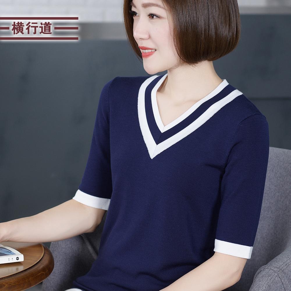 Mùa Hè 2019 Chiếc Áo Nữ Dệt Kim Phong Cách Tây Hit Màu Cổ V-Tay Áo Lỏng Lẻo Một Nửa Tay Áo Dệt May Của Phụ Nữ Áo Phông Mặc Bên Trong