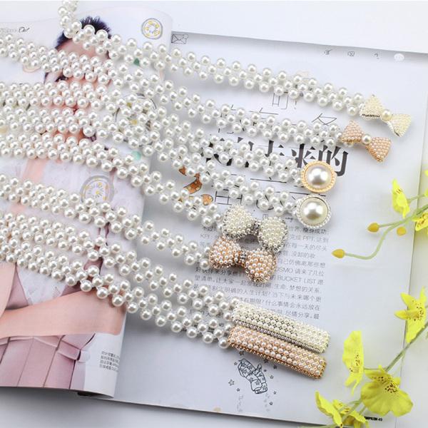 Giá bán LGJ Women Ladies Pearls Crystal Beads Chain Belt Stretchy Flower Buckle Waistband