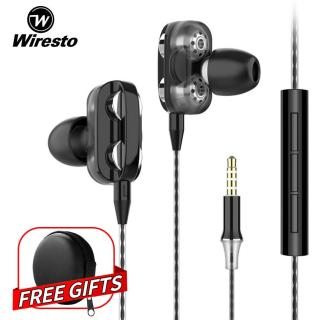 Wiresto In Ear Headphones Earphone Headset Wired Earbuds Soundproof Earplugs Quad Cores Headset No Ear Pain Earphone with HD Microphone Free Case Box thumbnail