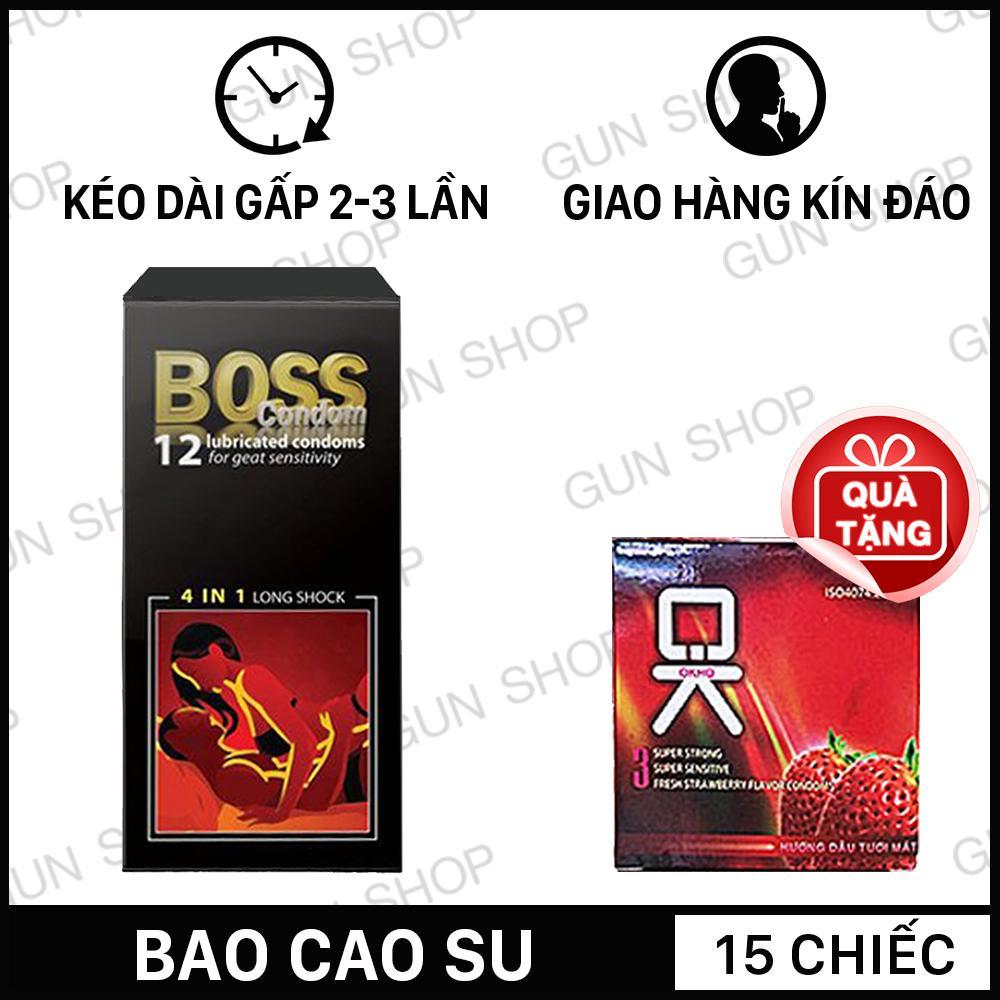 [15 chiếc] Bao Cao Su Malaysia Boss 4 in 1 Kéo Dài Thời Gian Quan Hệ (12 chiếc) + Tặng bao cao su Ok hương dâu 3 chiếc - Toroshop nhập khẩu