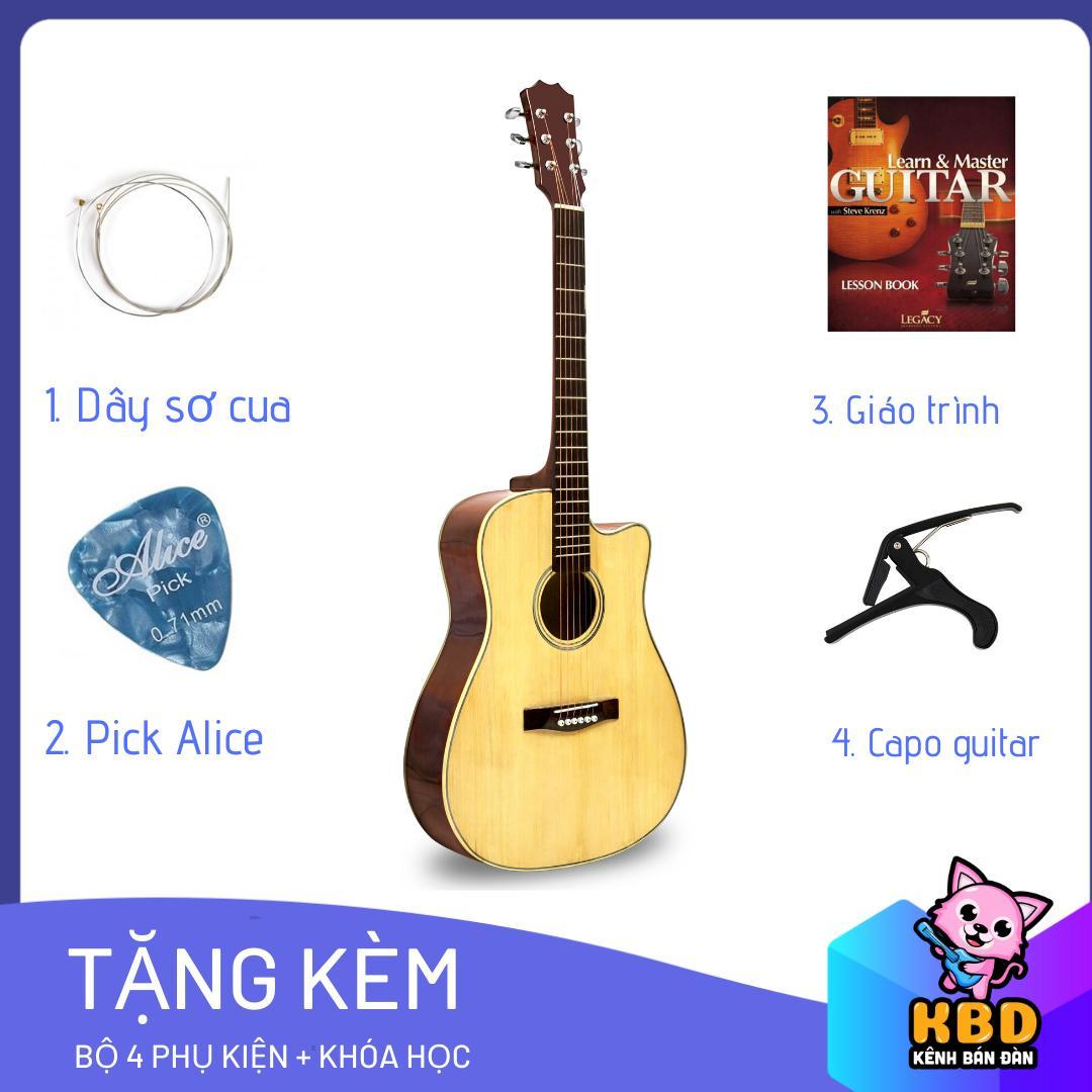 [TẶNG APP HỌC ĐÀN] Đàn Guitar Acoustic KBD  -10 + pick gảy , giáo trình online hướng dẫn cho người mới tập chơi.