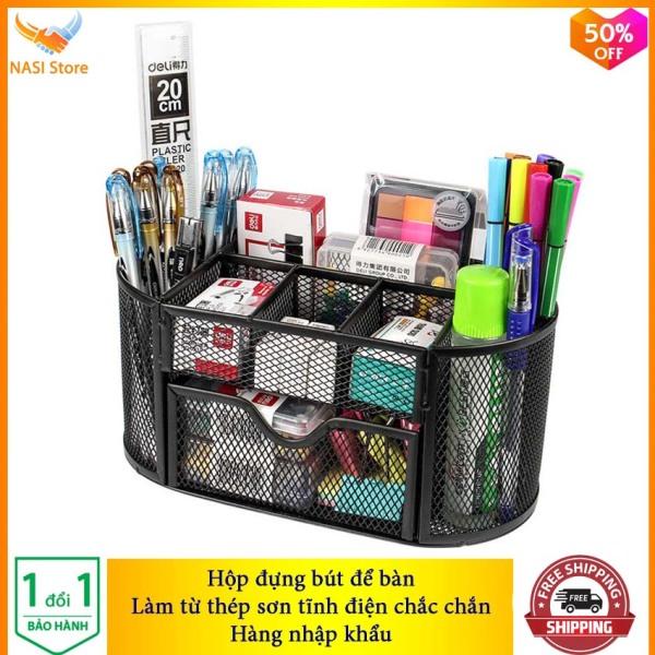 Mua Hộp Đựng Bút để bàn cao cấp NS12 (hàng nhập khẩu) bằng thép sơn tĩnh điện chắc chắn - Hộp đựng bút đa năng, hộp đựng viết, hộp đựng bút văn phòng, hộp đựng bút học sinh, khay đựng bút - NASI Store