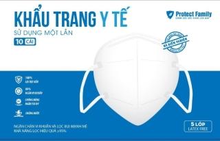 Khẩu Trang Y Tế Màu Trắng 5 Lớp, Kháng Khuẩn Hiệu Quả Protect Family, Hộp 10 cái, Có Giấy Kiểm Định Của Bộ Y Tế Medical Mask 10pcs thumbnail