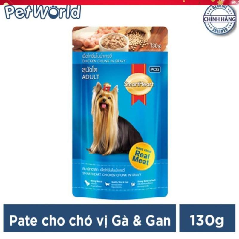 Thức ăn cho chó trưởng thành dạng sốt Smartheart vị gà & gan 130g