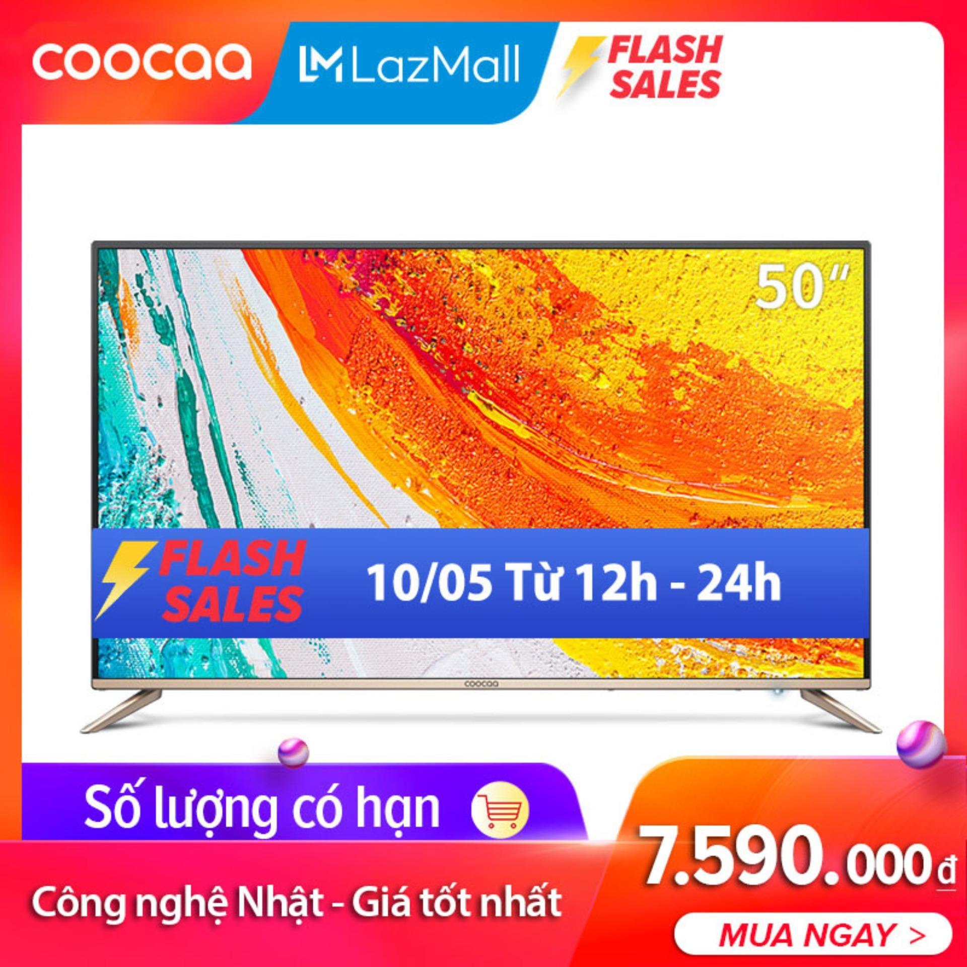Android TV 4K UHD Coocaa 50 inch Wifi - viền mỏng - Model 50S5G (Vàng) - Chân viền kim loại