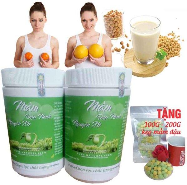 (1KG 2 hộp) Bột mầm đậu nành - Tăng vòng 1 hiệu quả (Tặng 100G viên mầm đậu nành thơm ngon giòn tan.) giá rẻ