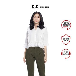 Quần Baggy Nữ Công Sở K&K Fashion QCS01-29 Kẻ Sọc Chất Liệu Kaki thumbnail