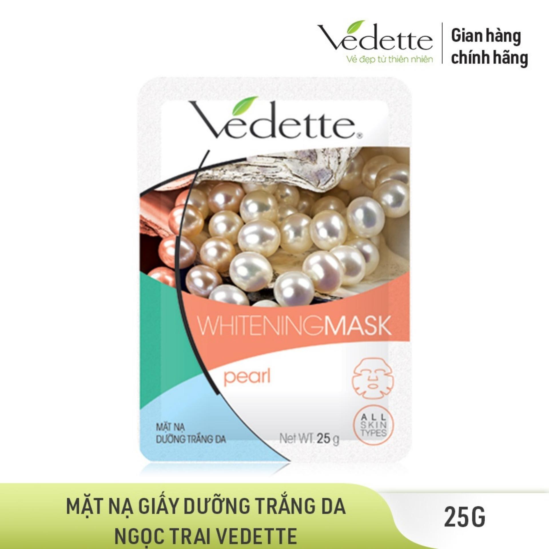 Mặt nạ giấy dưỡng trắng da Ngọc trai Vedette Whitening Mask Pearl 25g