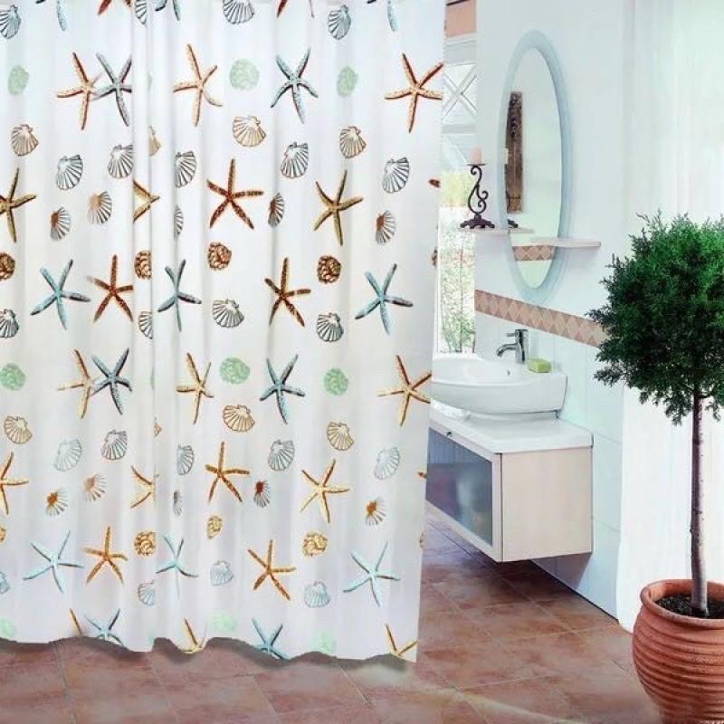 Rèm phòng tắm chống nước 1.8m có kèm móc treo sao biển