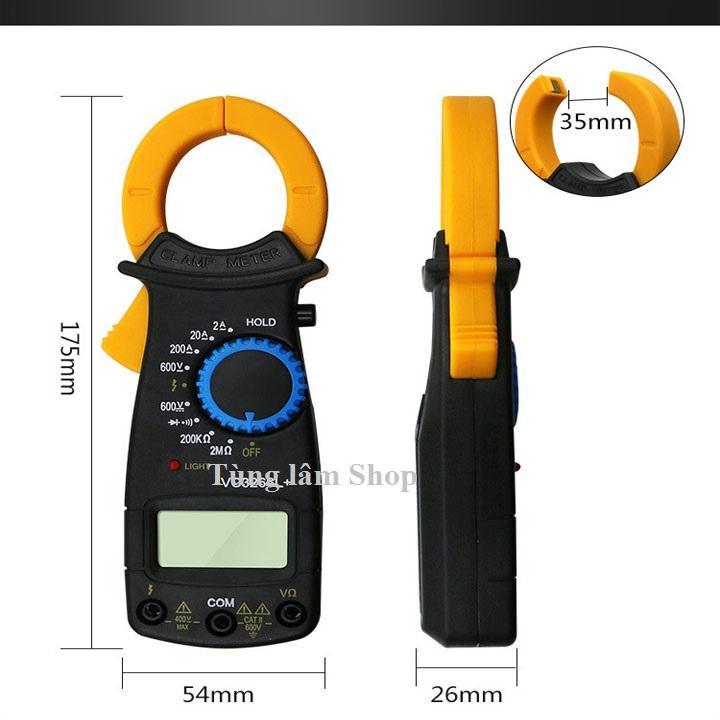 đồng hồ vạn năng kẹp dòng đo dòng điện - đồng hồ ampe kìm tặng kèm pin