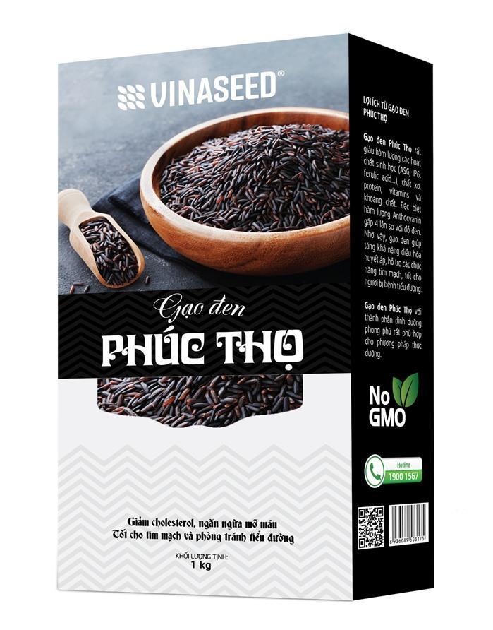 Gạo Phúc Thọ đen hộp 01kg - Gạo lứt đen - Tốt cho tim mạch và tiểu đường - Vườn Đặc Sản
