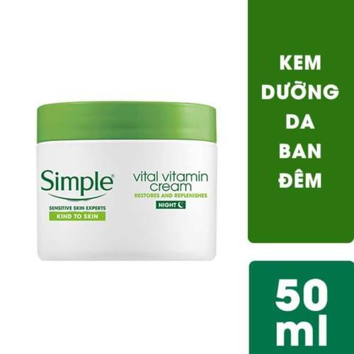 Kem Dưỡng Tái Tạo, Phục Hồi Da Ban Đêm Simple Kind To Skin Vital Vitamin Cream Night 50ml