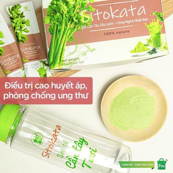 Nước ép Bột cần Tây Sitokata 1 hộp 20 gói (100gr ) + tặng 1 bình nước + cẩm nang giảm cân cao cấp