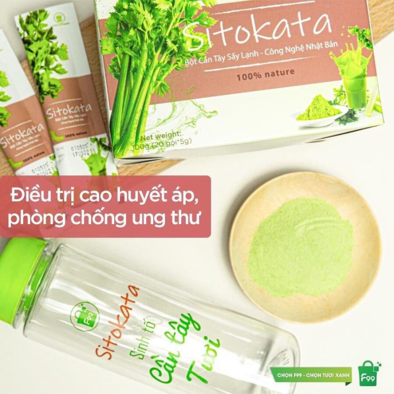 Nước ép Bột cần Tây Sitokata 1 hộp 20 gói (100gr ) + tặng 1 bình nước + cẩm nang giảm cân