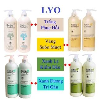 Bộ dầu Gội Xả Biotin Collagen Trắng Xanh Vàng Giúp Phục Hồi Chống Rụng tóc 500ml - 1000ml. thumbnail