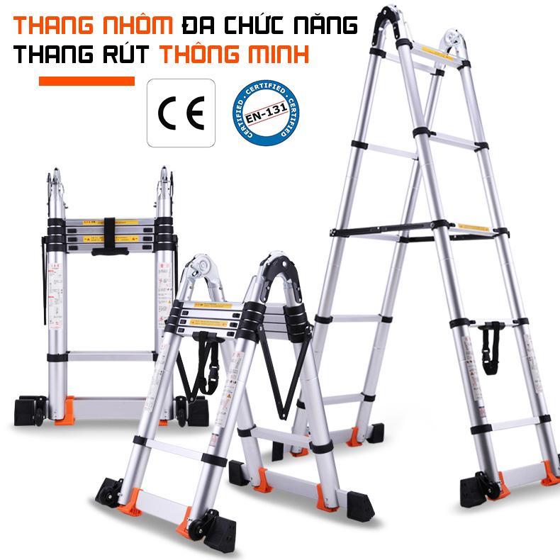 Thang nhôm rút đôi thông minh- Có bánh xe di chuyển- 3.8 m - Hàng tiêu chuẩn Châu Âu