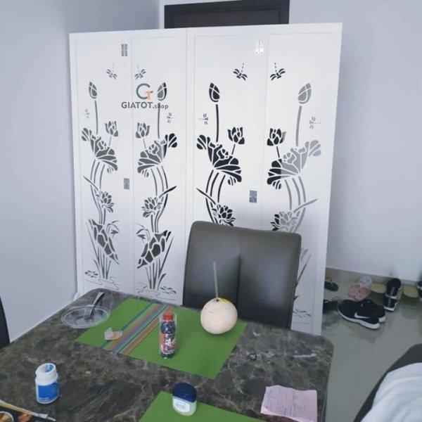 [Nhập ELMAY21 giảm 10% tối đa 200k đơn từ 99k]Vách bình phong họa tiết hình hoa sen to 4 tấm GTS306