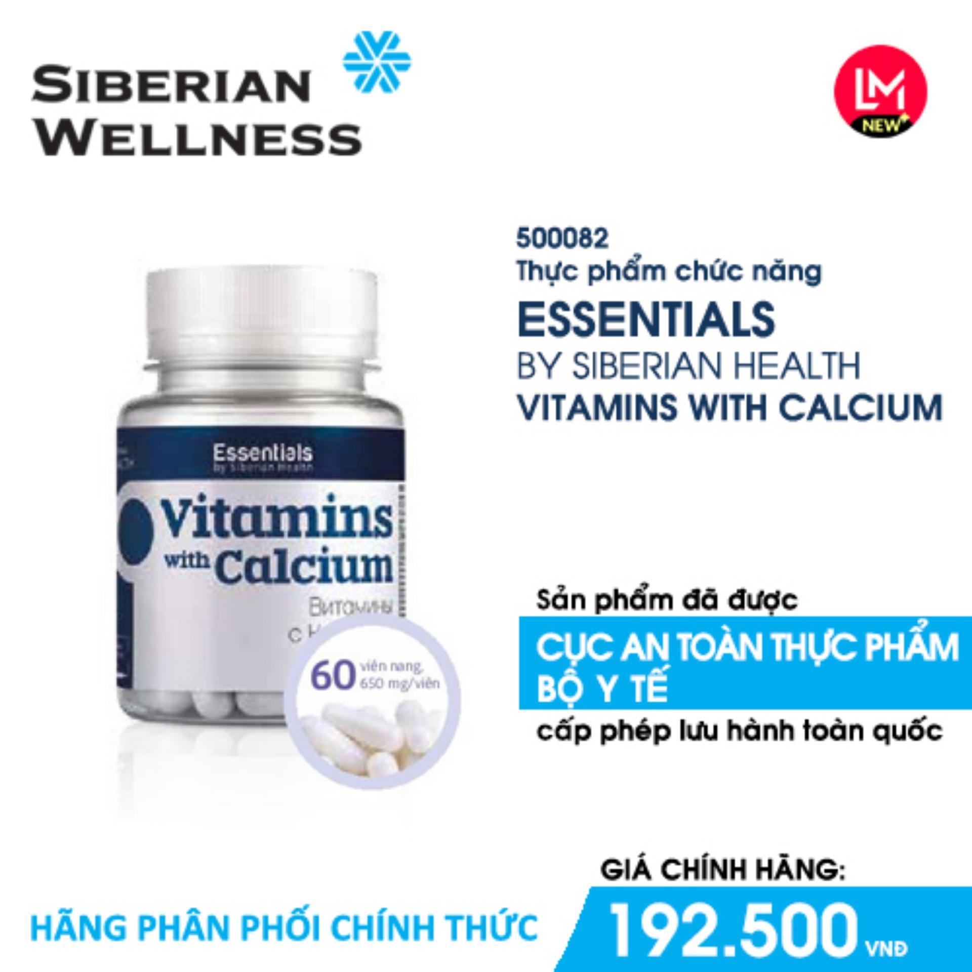 TPCN cung cấp bổ sung 12 loại vitamin kết hợp với can-xi; Giúp tăng cường sinh lực; Hỗ trợ khả năng làm việc của cơ thể Essentials by Siberian Health. Vitamins with Calcium (Siberian Health) - Hãng phân phối chính thức