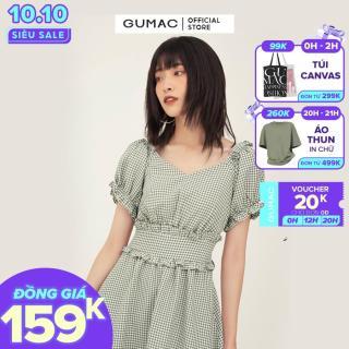 Váy đầm nữ đẹp vải caro thiết kế bản eo tôn dáng, tay nhún bèo dễ thương, chất liệu cotton cao cấp thời trang GUMAC mẫu mới DB341 trẻ trung năng động thumbnail