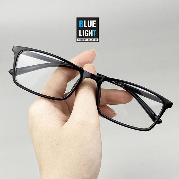 Giá bán Kính Giả Cận Gọng Kính Cận Nam Nữ Mắt Vuông Gọng Dẻo Nhẹ Chống Va Đập Đen Fullbox BLUE LIGHT