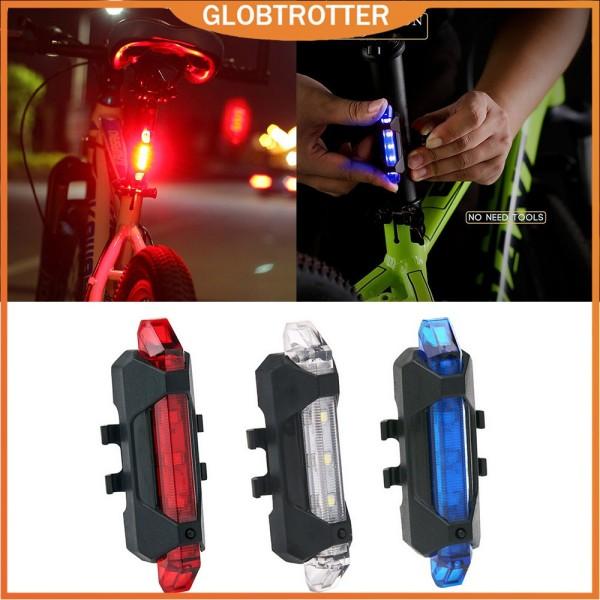 【COD & Hàng sẵn sàng】Đèn xe đạp Đèn sau chống thấm nước Đèn LED USB có thể sạc lại Xe đạp leo núi Đèn đi xe đạp Đèn cảnh báo an toàn Taillamp