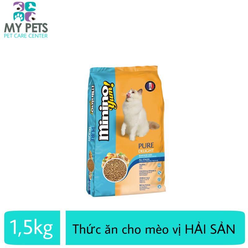 Thức ăn vị hải sản thơm ngon hấp dẫn giàu dinh dưỡng dành cho mèo mọi lứa tuổ Minino Yum 1.5kg