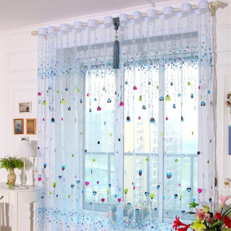 Whale Embroidered Curtain Three-dimensional Breathable Window Screening for Living Room Bedroom