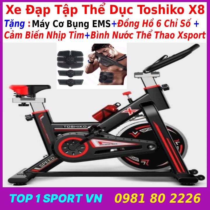 Xe đạp thể thao tặng máy tập bụng EMS- xe đạp thể dục xe đạp tập thể thao xe đạp tập thể dục TOSHIKO X8 tặng bình nước thể thao + đồng hồ nhịp tim - bảo hành 36 tháng