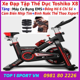 Xe đạp thể thao tặng máy tập bụng EMS- xe đạp thể dục xe đạp tập thể thao xe đạp tập thể dục TOSHIKO X8 tặng bình nước thể thao + đồng hồ nhịp tim - bảo hành 36 tháng thumbnail