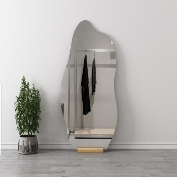Gương hạt đậu led cảm ứng VUADECOR dựa tường có đế gỗ size 70x160cm giá rẻ