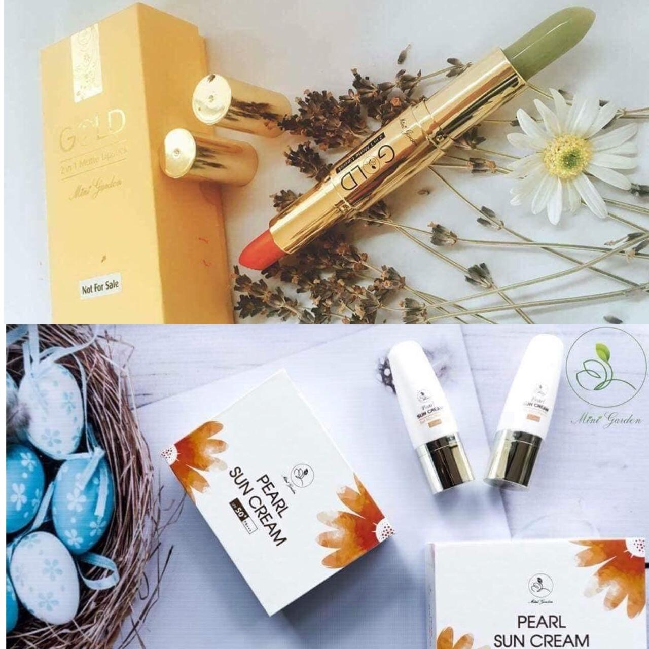 COMBO son thỏi lỳ Gold + kem chống nắng Pearl Sun Cream