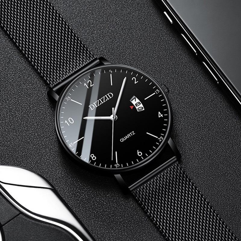 Nơi bán Đồng hồ nam DIZIZID dây thép lưới đen thiết kế sang trọng lịch ngày - Bảo hành 12 tháng (Full hộp)