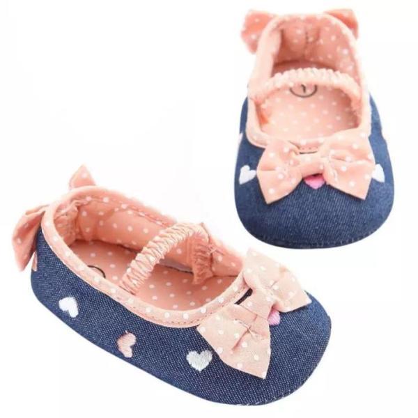 Giá bán Giày tập đi hoạ tiết trái tim phối nơ đáng yêu cho bé 0-18 tháng tuổi BBShine – TD21