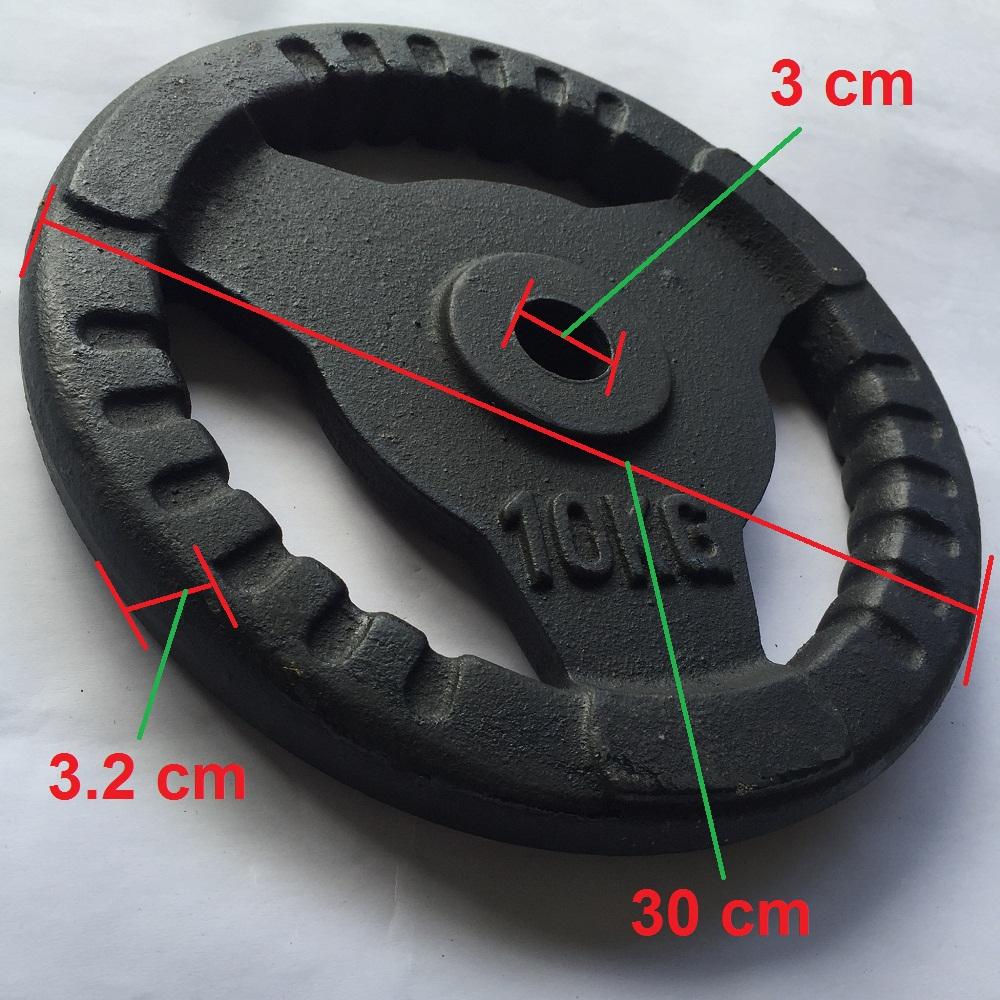 Bánh tạ gang 10kg có phi là 3 cm phù hợp để lắp vào đòn tạ tay, đòn tạ đẩy, lắp vào ghế tạ đa năng tập tay, vai, ngực cho nam và nữ. 1 miếng tạ tròn 3 lỗ, tạ 10kg, tạ autowin