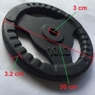 Bánh tạ gang 10kg có phi là 3 cm phù hợp để lắp vào đòn tạ tay, đòn tạ đẩy, lắp vào ghế tạ đa năng tập tay, vai, ngực cho nam và nữ. 1 miếng tạ tròn 3 lỗ, tạ 10kg, tạ autowin thumbnail