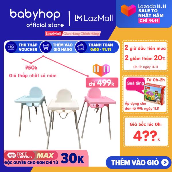 Ghế Ăn Dặm Glosby Babyhop 2 nấc Chân Điều Chỉnh,ăn dặm kiểu nhật và BLW, cho bé từ 6 tháng, được làm từ nhựa nguyên sinh an toàn cho sức khỏe của bé - Ghế ăn dặm