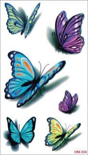Hình xăm dán bướm 3D kích thước 6 x 10 cm - miếng dán xăm đẹp dành cho nữ thumbnail