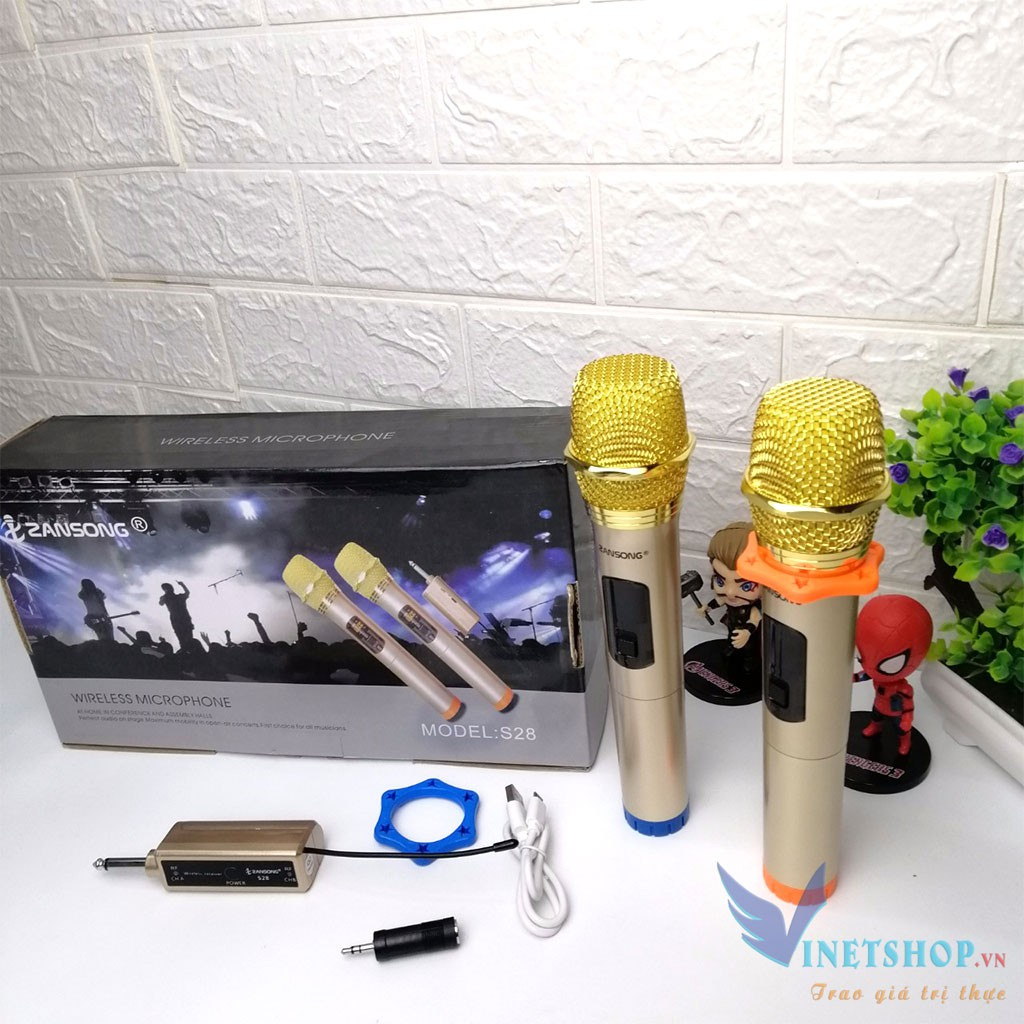 [MIỄN PHÍ VẬN CHUYỂN] Bộ 2 Micro không dây, Mic Bluetooth, Mic karaoke ZANSONG S28 cho loa kéo, loa kẹo kéo, loa không dây, Mic đa năng