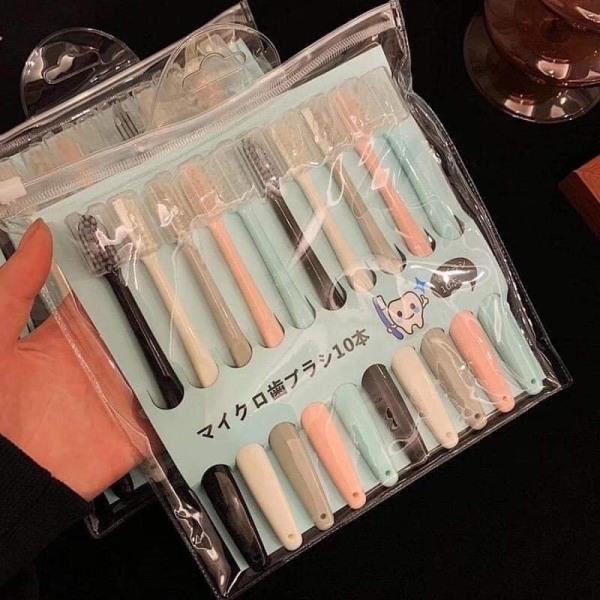 Set 10 bàn chải đánh răng xuất Nhật có nắp tặng kèm túi zip