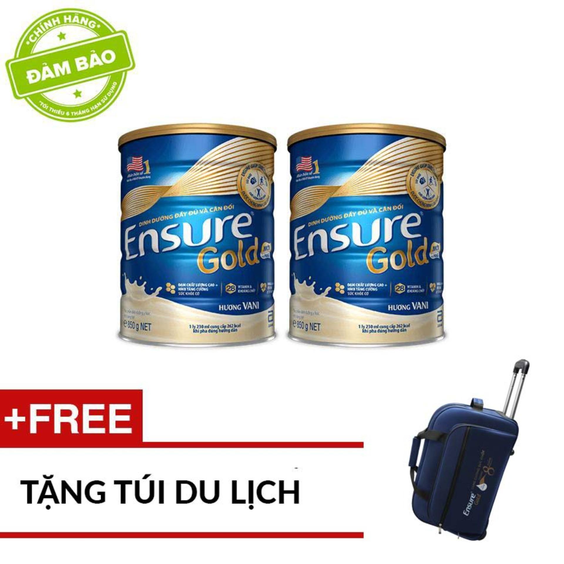 Bộ 2 Lon Ensure 850g - Tặng Túi Du Lịch By Lazada Retail Ensure.