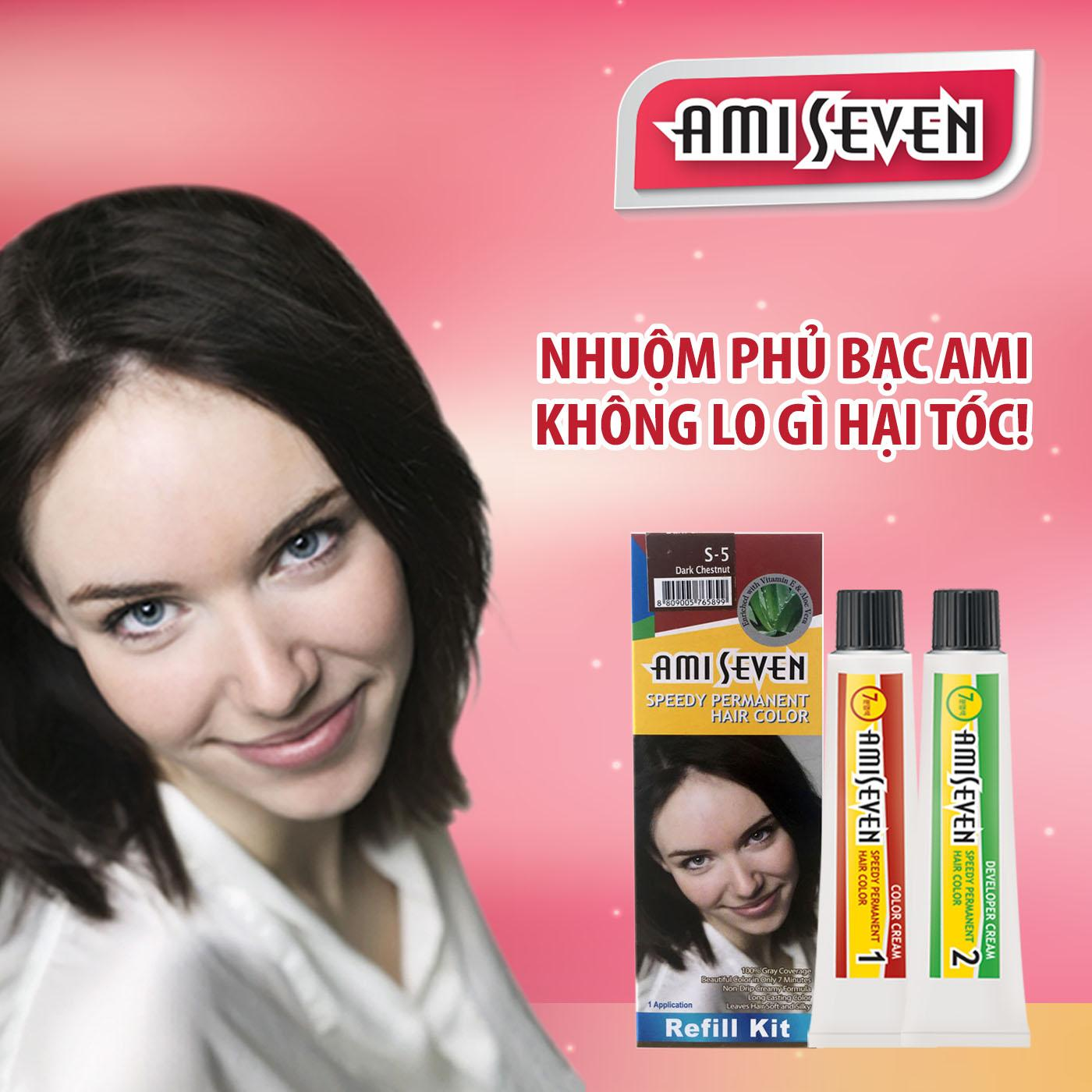 Nhuộm phủ bạc dược thảo Ami Seven Speedy Permanent Hair Color  (60g/60g) nhanh 7 phút - Hàn Quốc - loại tiết kiệm- Màu S5- Hạt dẻ đậm